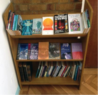 bookshelf at Grays URC